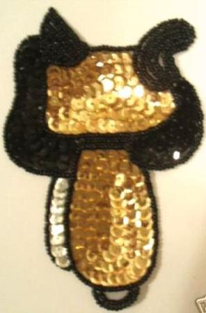 "L1  Rodeo Saddle Gold Sequin Applique  5"""
