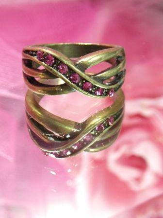 654  Pink Rhinestone Antique Gold Vintage Ring sz. 7.75