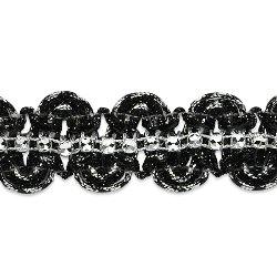 """E6964 Black Silver Eva Faux Rhinestone Metallic Braid Trim 1 1/8"""""""