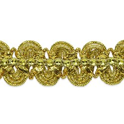 "RME6964-GL-23"" REMNANT Gold Eva Faux Rhinestone Metallic Braid Trim 1 1/8"""