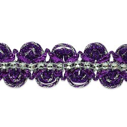 "E6964 Purple Silver Eva Faux Rhinestone Metallic Braid Trim 1 1/8"""