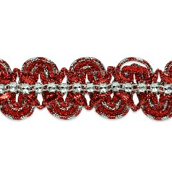 "RME6964 (9"" REMNANT) Red Silver Eva Faux Rhinestone Metallic Braid Trim"