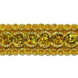 "RME6973-glab (32"" REMNANT) Gold Trish Sequin Metallic Braid Trim"