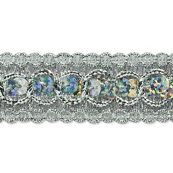 "E6973 Silver Trish Sequin Metallic Braid Trim 7/8"""