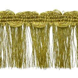 "E6975 Gold Metallic Braid Fringe Trim 1.5"""