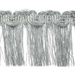 "E6975 Silver Metallic Braid Fringe Trim 1.5"""