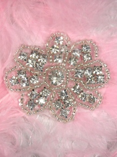 ACT/XR38/A  Flower Crystal Glass Floral Silver Beaded Rhinestone Applique 2""