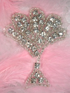 ACT/XR38/B Fan Stand Crystal Glass Silver Beaded Rhinestone Applique 2.25""