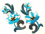 "Turquoise Embroidered Appliques Floral Mirror Pairs 3.75"" GB696X"