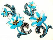 """Turquoise Embroidered Appliques Floral Mirror Pairs 3.75"""" GB696X"""