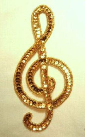 K9304  Lg Gold G Clef Musical note Sequin Beaded Applique 7""