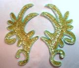 "Olive AB Claw Mirror Pair  6.75"" Sequin Beaded Applique K8101"