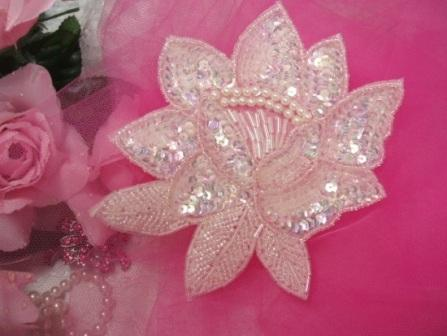 """K8108  Crystal AB Rose Sequin Beaded Applique 5.25"""""""
