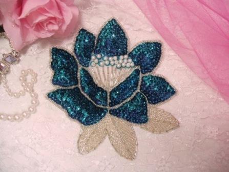 "K8108  Turquoise Rose Sequin Beaded Applique 5.25"""