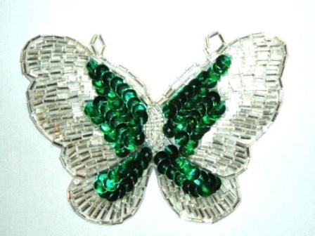 "K8110  Kelly Green Butterfly Sequin Beaded Applique 4"""