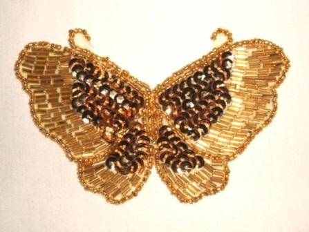 """K8110  Gold Butterfly Sequin Beaded Applique 4"""""""