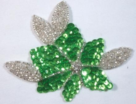 """K8124   Neon Lime Green 4"""" Sequin Beaded Floral Applique"""