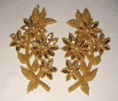 """OSK8125 RIGHT SIDE ONLY  Gold Sequin Beaded Appliques 6"""""""