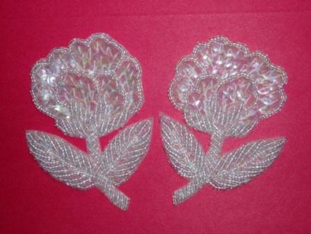 K8126  Crystal AB Flower Mirror Pair Sequin Beaded Appliques 3.25""
