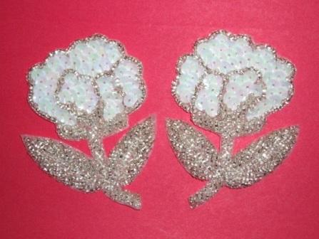 "K8126  White AB  Flower Mirror Pair Sequin Beaded Appliques 3.25"""