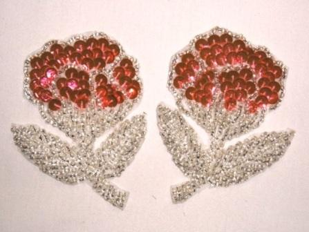 K8126 Pinkish Orange Flower Mirror Pair Sequin Beaded Appliques 3.25""