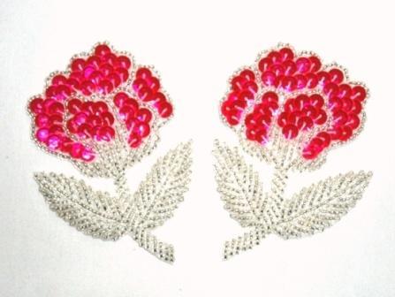 """K8126  Neon Pink  Flower Mirror Pair Sequin Beaded Appliques 3.25"""""""
