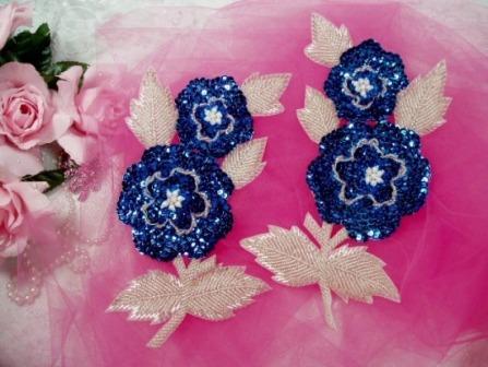 """K8127  Blue Rose Mirror Pair Sequin Beaded Appliques 8.25"""""""