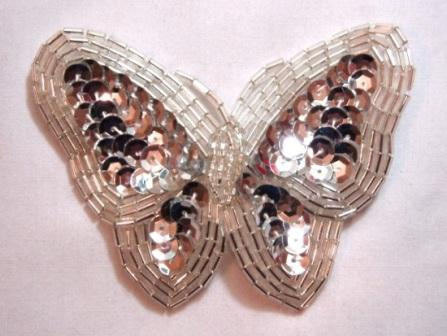 K8129  Silver Butterfly Sequin Beaded Applique 3.5""