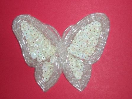 """K8129  White AB Butterfly Sequin Beaded Applique 3.5"""""""