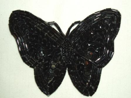 "K8129  Black Butterfly Sequin Beaded Applique 3.5"""