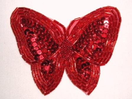 K8129  Red Butterfly Sequin Beaded Applique 3.5""