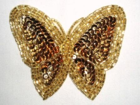 K8129  Gold Butterfly Sequin Beaded Applique 3.5""