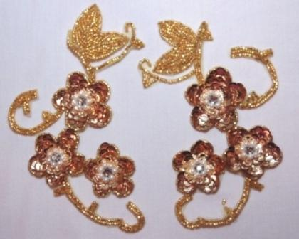 """LEFT SIDE ONLY OSK8131 Gold Rhinestone Mirror Pair Sequin Beaded Appliques 6"""""""