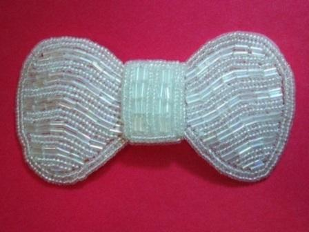 K8137  Crystal AB Bow Beaded Applique 3.75""