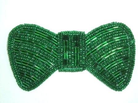 HB12  Kelly Green Bow Beaded Hair bow