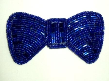 REDUCED RMK8137  Blue Bow Beaded Applique 3.75""