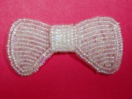 "K8137A  Crystal Small Bow Beaded Applique 2.5"""