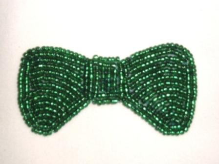 "K8137A  Green Small Bow Beaded Applique 2.5"""