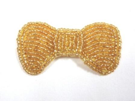 """K8137A  Gold Small Bow Beaded Applique 2.5"""""""