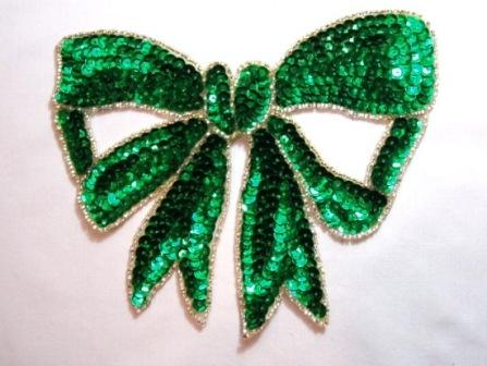 """K8140 Green Large Bow Sequin Beaded Applique 6.75"""""""