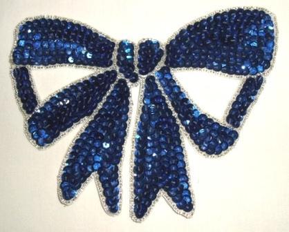 "K8140  Blue Large Bow Sequin Beaded Applique 6.75"""