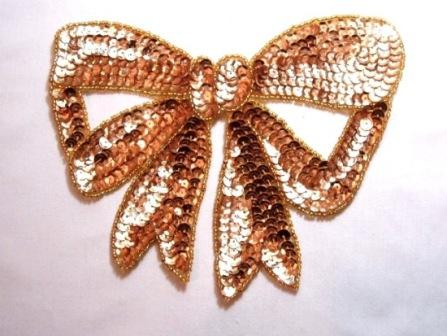 """K8140  Gold Large Bow Sequin Beaded Applique 6.75"""""""