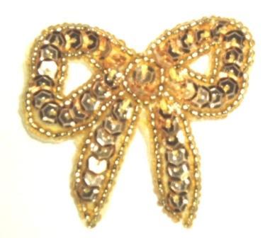"K8140A  Gold Bow Sequin Beaded Applique 2"""