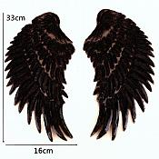 Black Wings Sequin Appliques Black Backing Mirror Pair Motifs Iron on Patch 13 inches GB339X