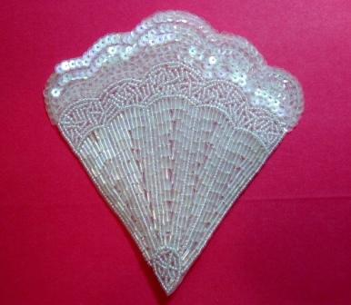 K8246  Crystal  AB Victorian Fan Sequin Beaded Applique 4.75""