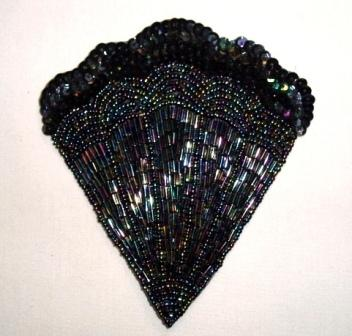 "K8246   Black AB Victorian Fan Sequin Beaded Applique 4.75"""