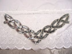 "K8248  Silver Braided Collar Sequin Beaded Applique 8.75"""