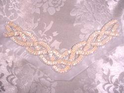 "K8248  Ivory Cream Braided Collar Sequin Beaded Applique 8.75"""