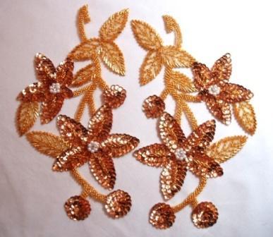 "K8251  Gold Mirror Pair Sequin Beaded Applique 10.5"""