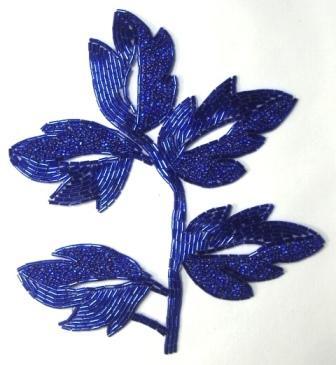 """K8253  Blue Leaf  Vine Beaded Applique 7"""""""